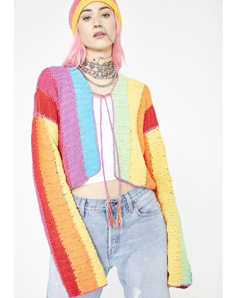 Rainbow Striped Cropped Cardigan