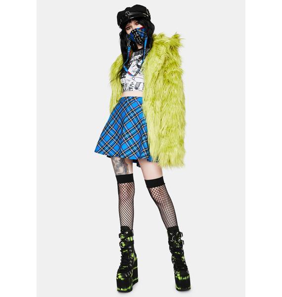 Tripp NYC Blue Plaid Circle Skirt