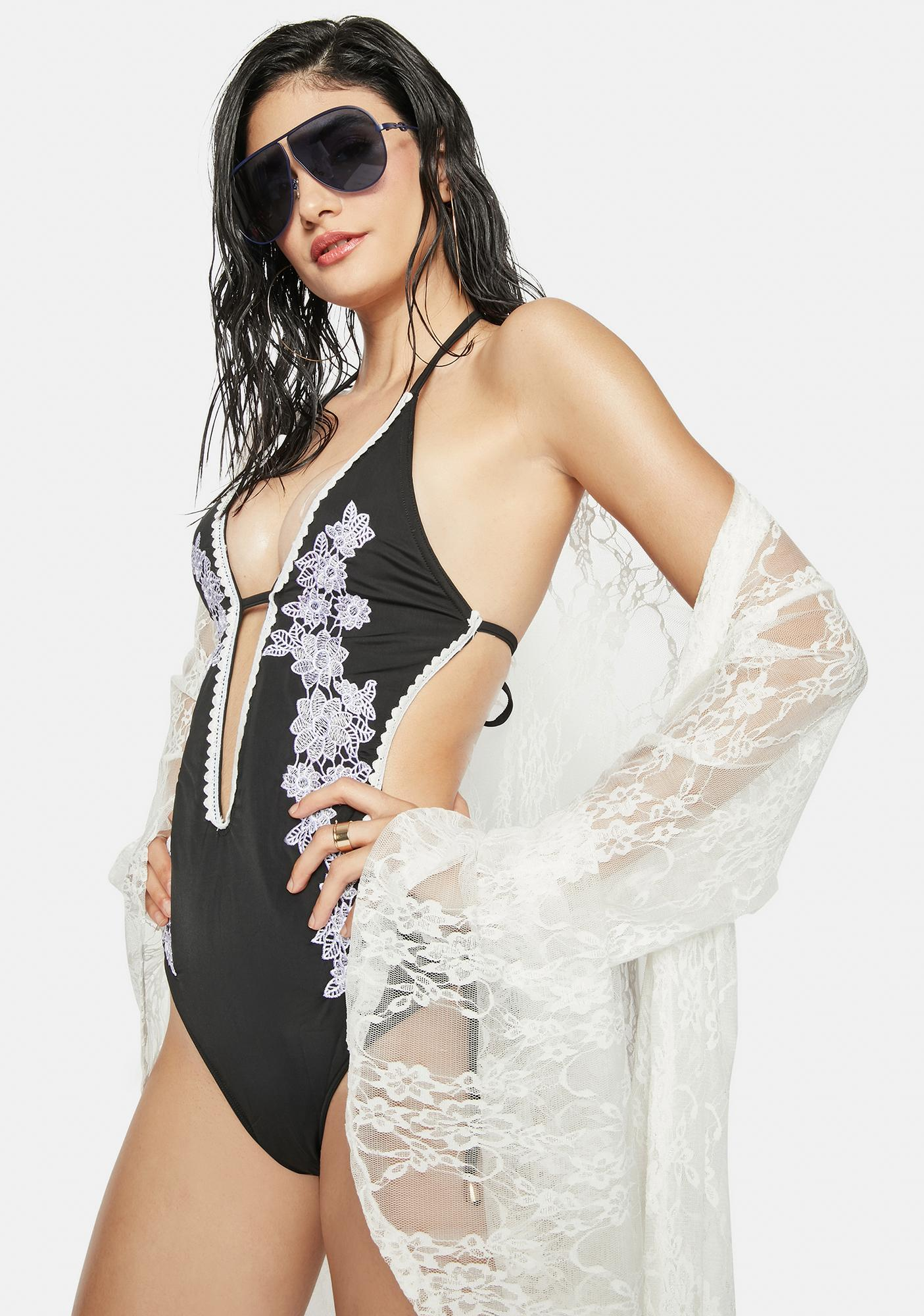 Water Lilies Embroidered One Piece