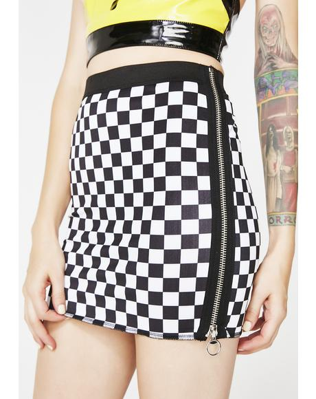 Icy Speed It Up Checkered Skirt