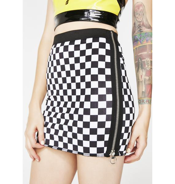 Current Mood Icy Speed It Up Checkered Skirt