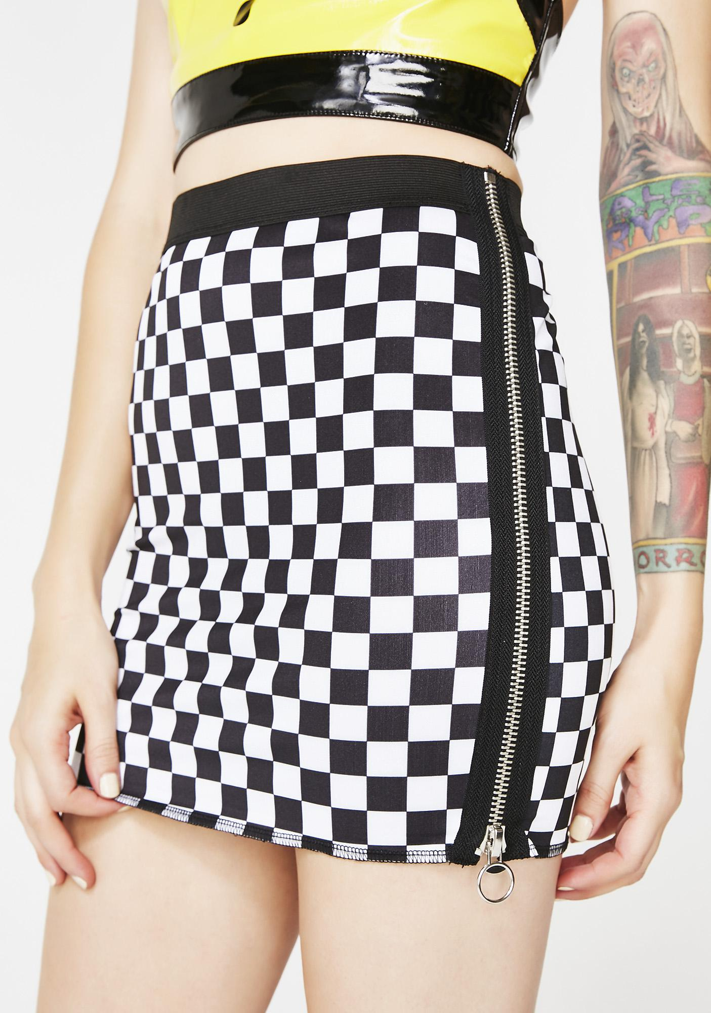 Icy Speed It Up Checkered Skirt by Current Mood