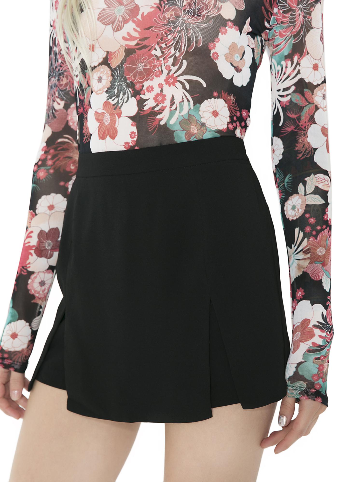 Pleated High Waist Skort Shorts Black