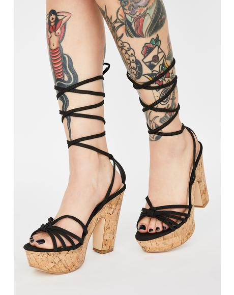 Dark Call Me Pretty Wrap Heels
