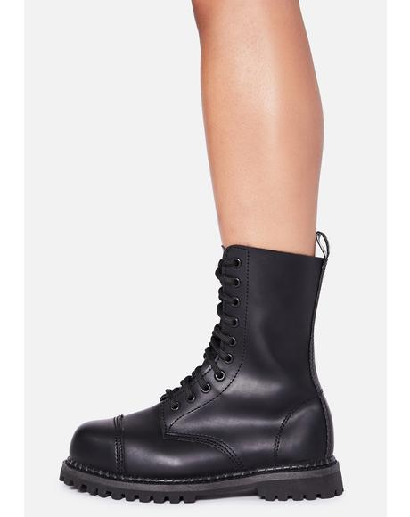 Vegan Leather Amped Up Lace Up Boots