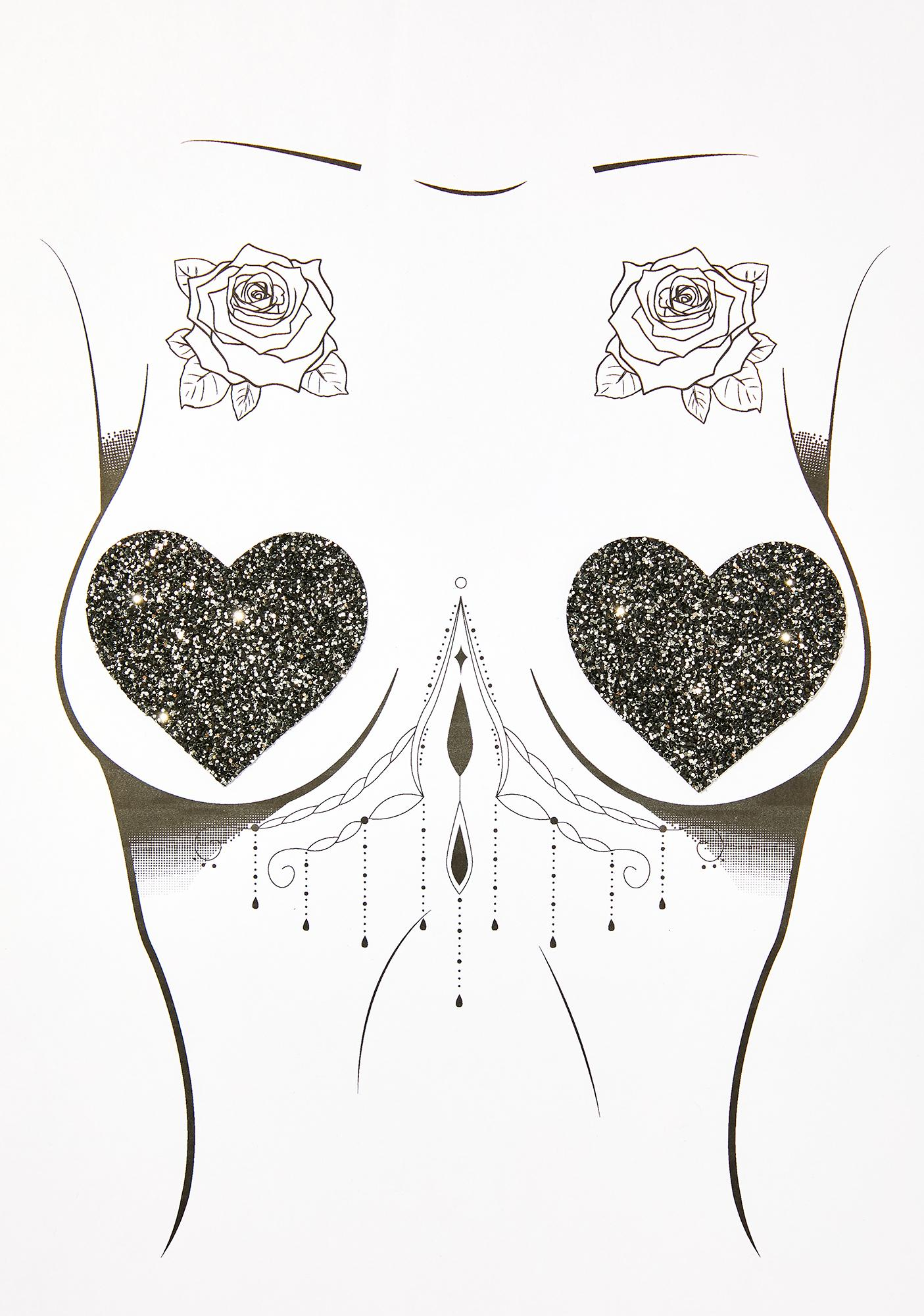 Neva Nude Black Chunky Glitter Heart Pasties