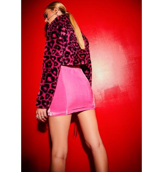 Poster Grl Caked Up Velour Lace Up Mini Skirt