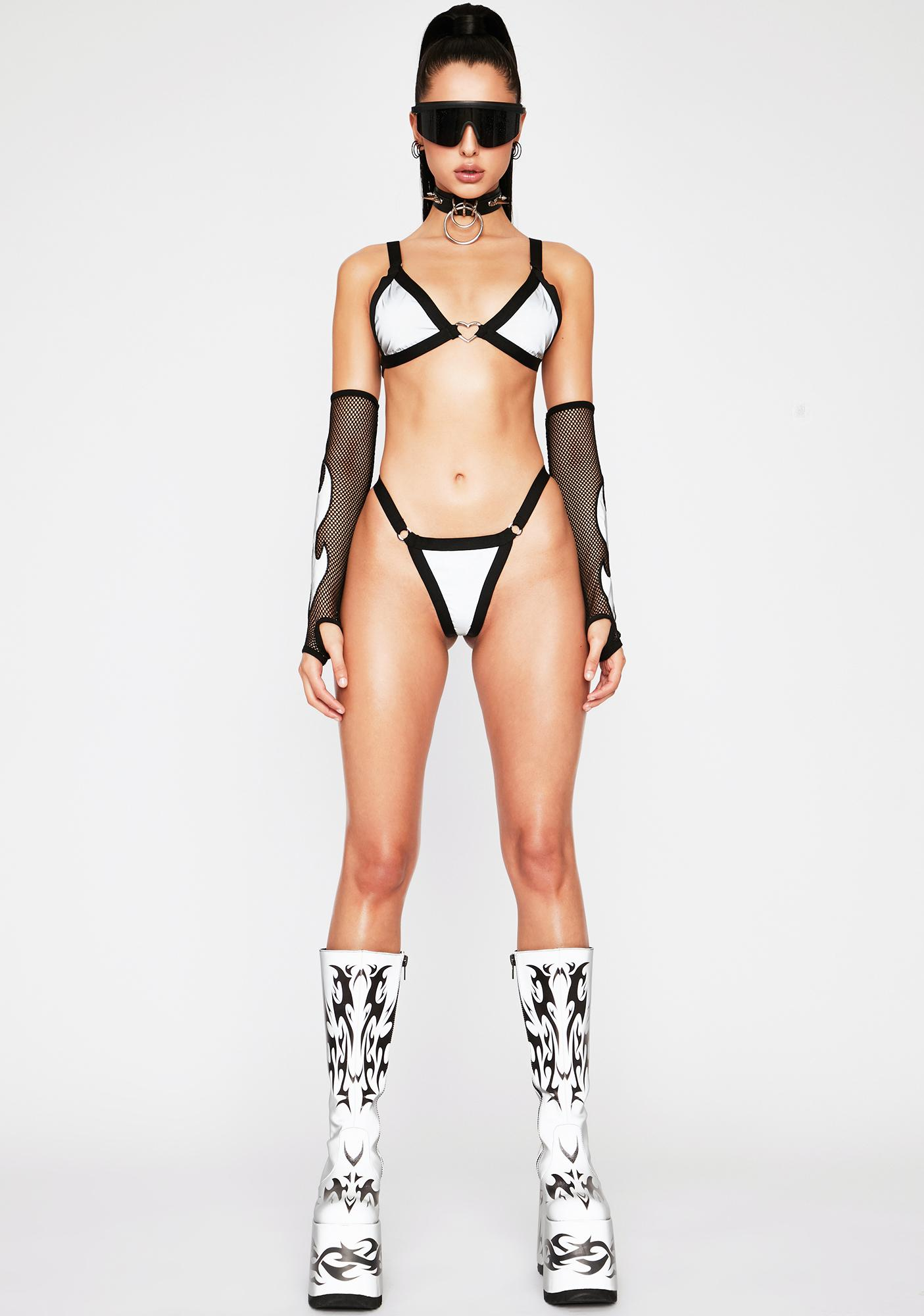 Towers Swimwear Heart Reflective Bikini Set