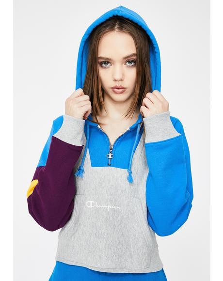 Colorblock Reverse Weave Half Zip Pullover