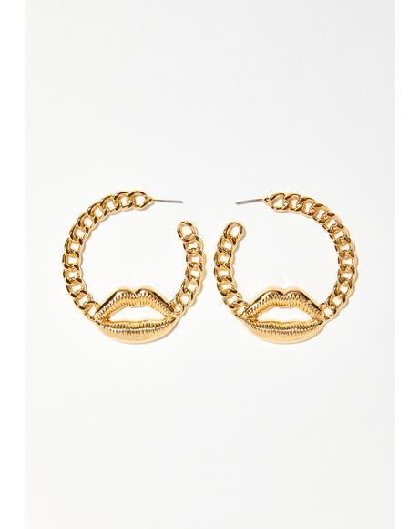 Lip Lock Chain Earrings