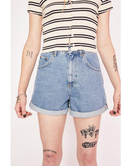 Blue Rolled Hem Denim Mom Shorts