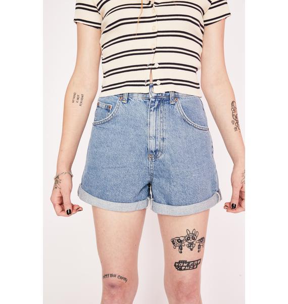 BDG Blue Rolled Hem Denim Mom Shorts