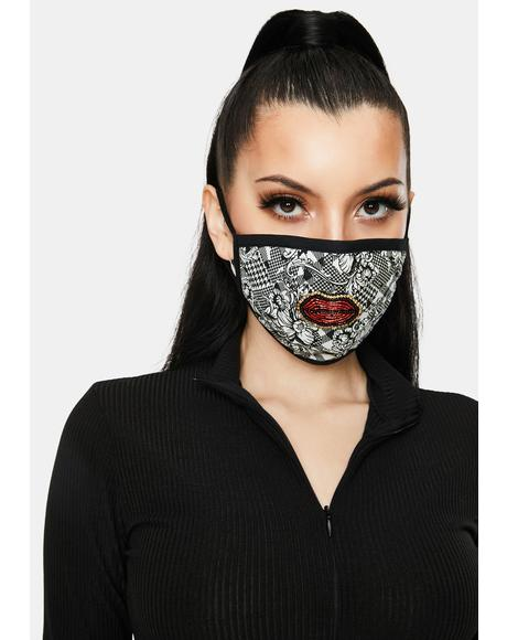 Checkered Floral With Embroidered Lip Face Mask