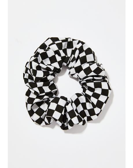 Doin' Wheelies Checkered Scrunchie