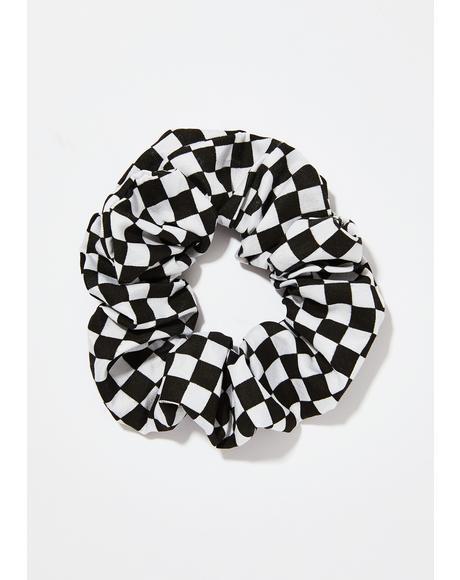 Doin' Wheelies Checkered Scrunchie