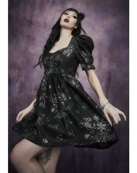 Night Music Brocade Babydoll Dress