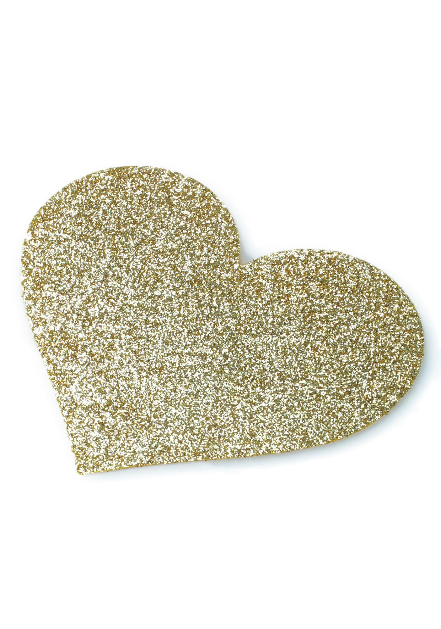 BIJOUX INDISCRETS Gold Glitter Heart Pasties