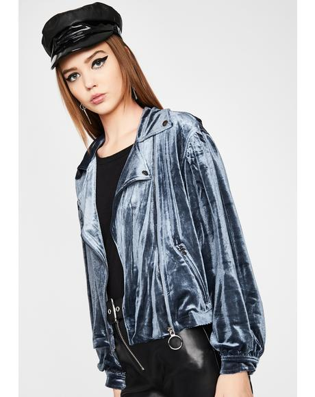Slate Babe Alert Velvet Moto Jacket