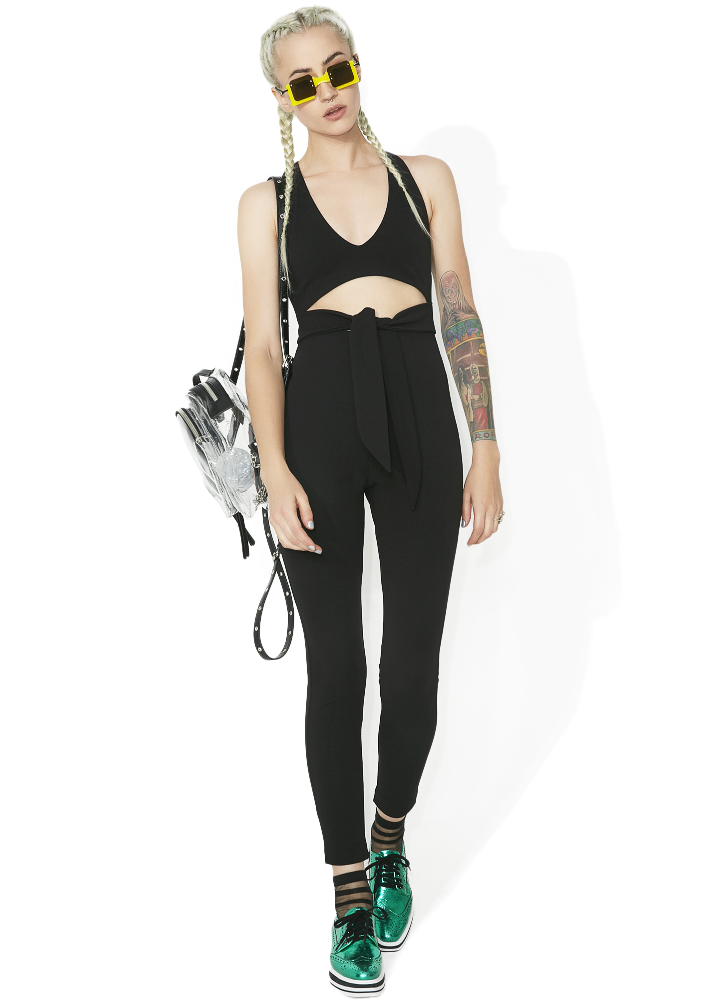 Eye Of The Storm Waist Tie Jumpsuit