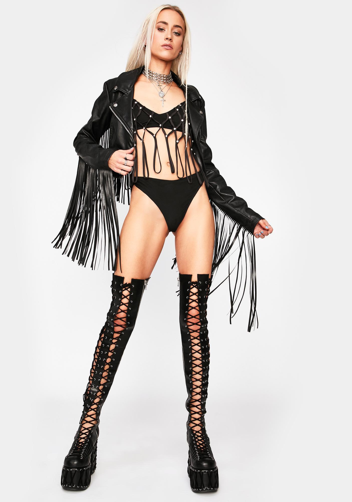 Actin' Wild Fringe Bikini Set
