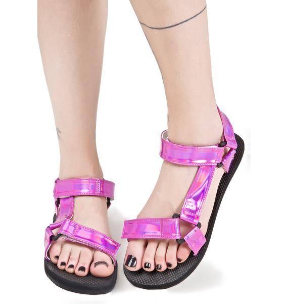 O Mighty Pynk Hologram Velcro Sandals