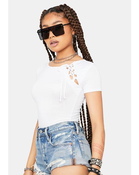 Ivory Fake Friends Lace Up Crop Tee