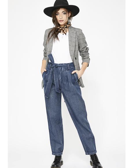 Cold Heart Tie Waist Jeans