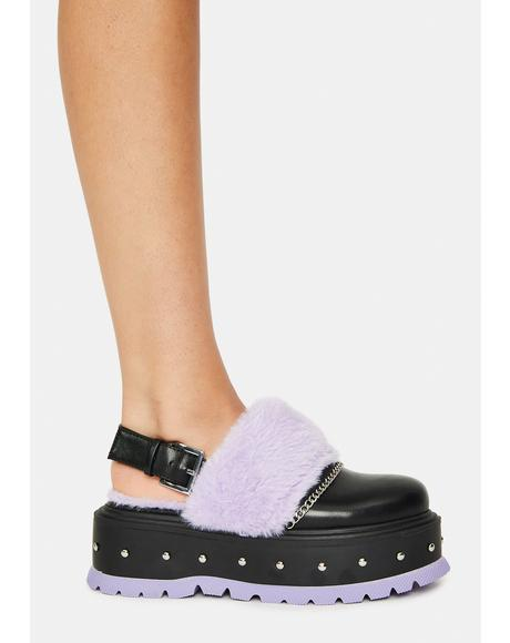 Purple Chibi Faux Fur Sandals