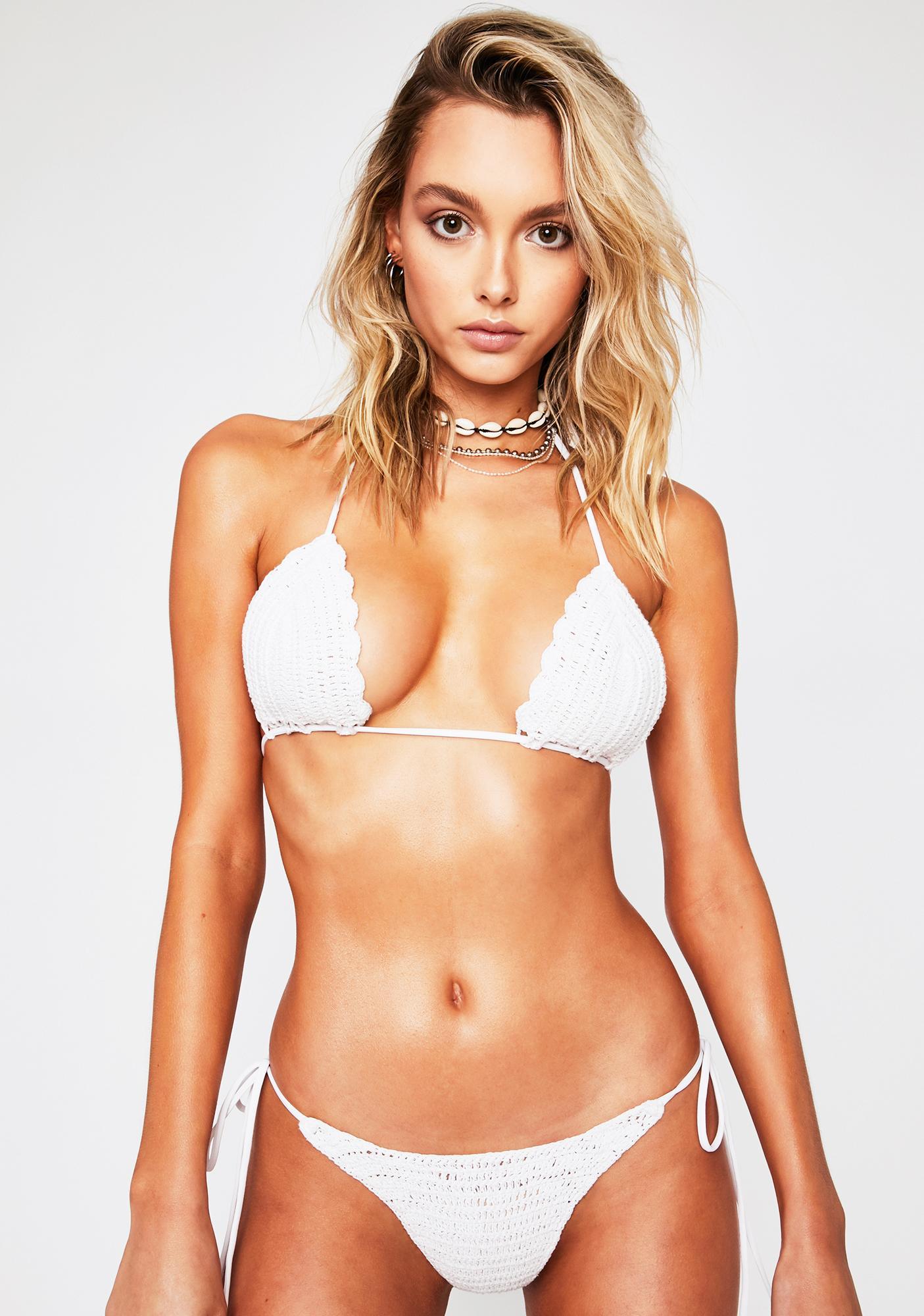 Frankies Bikinis White Haze Crochet Bikini Bottoms