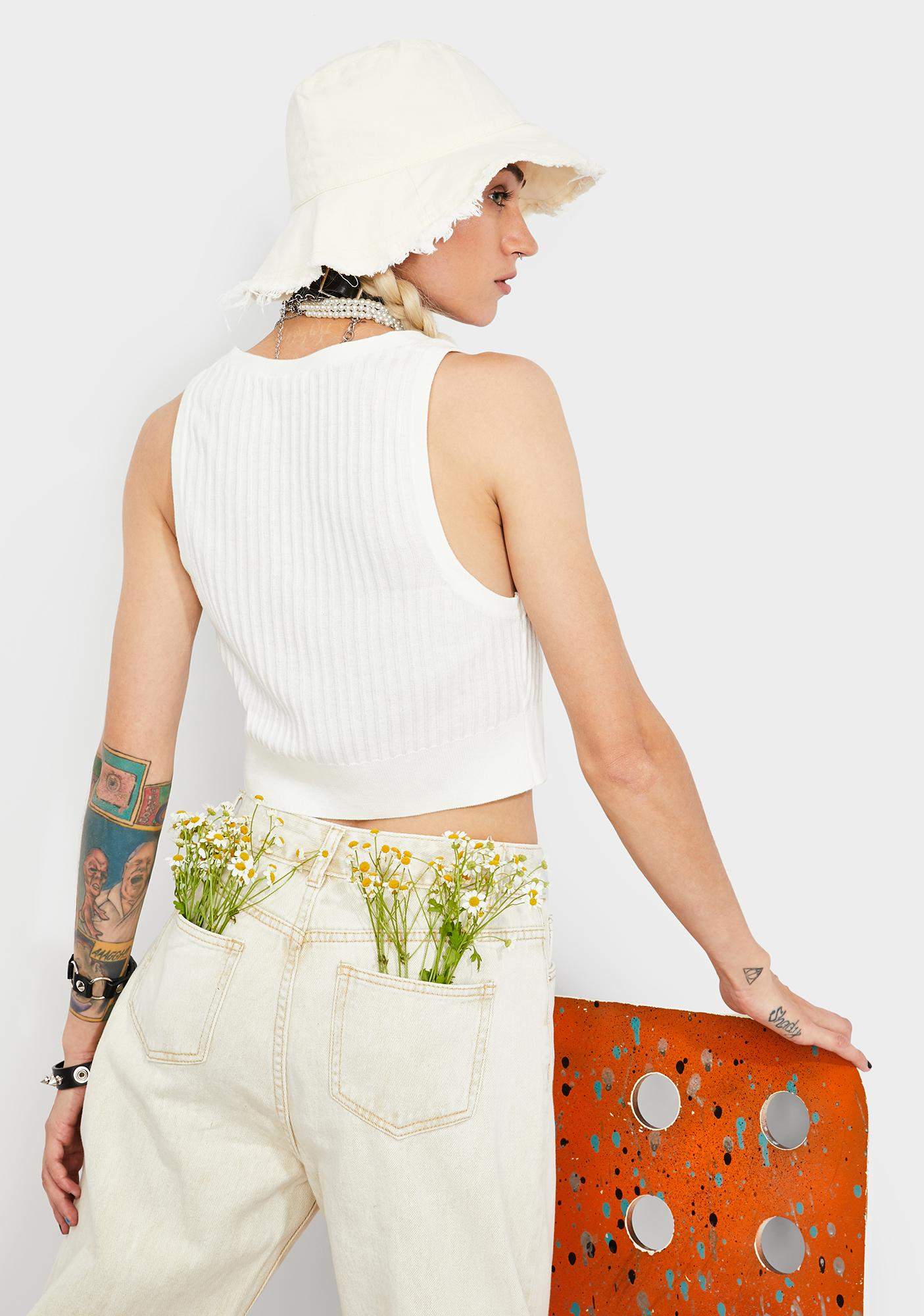 Free People White Saturday Morning Crop Top