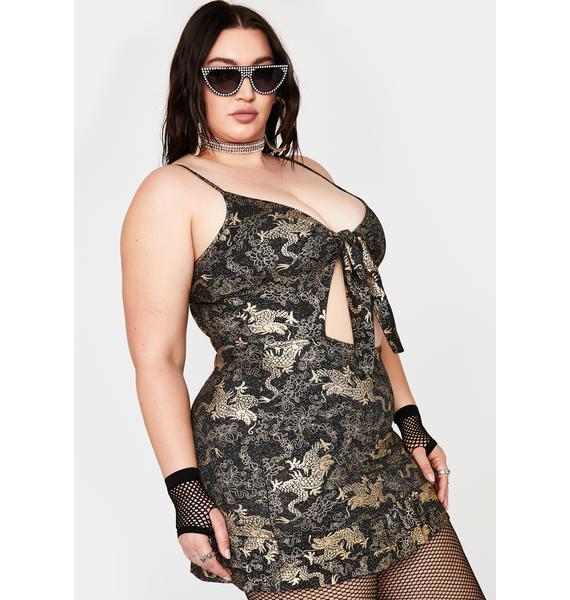 NEW GIRL ORDER Plus Golden Dragon Cut Out Dress