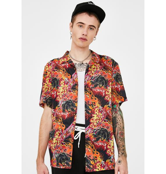 Ed Hardy Fire Panther Button Up Shirt
