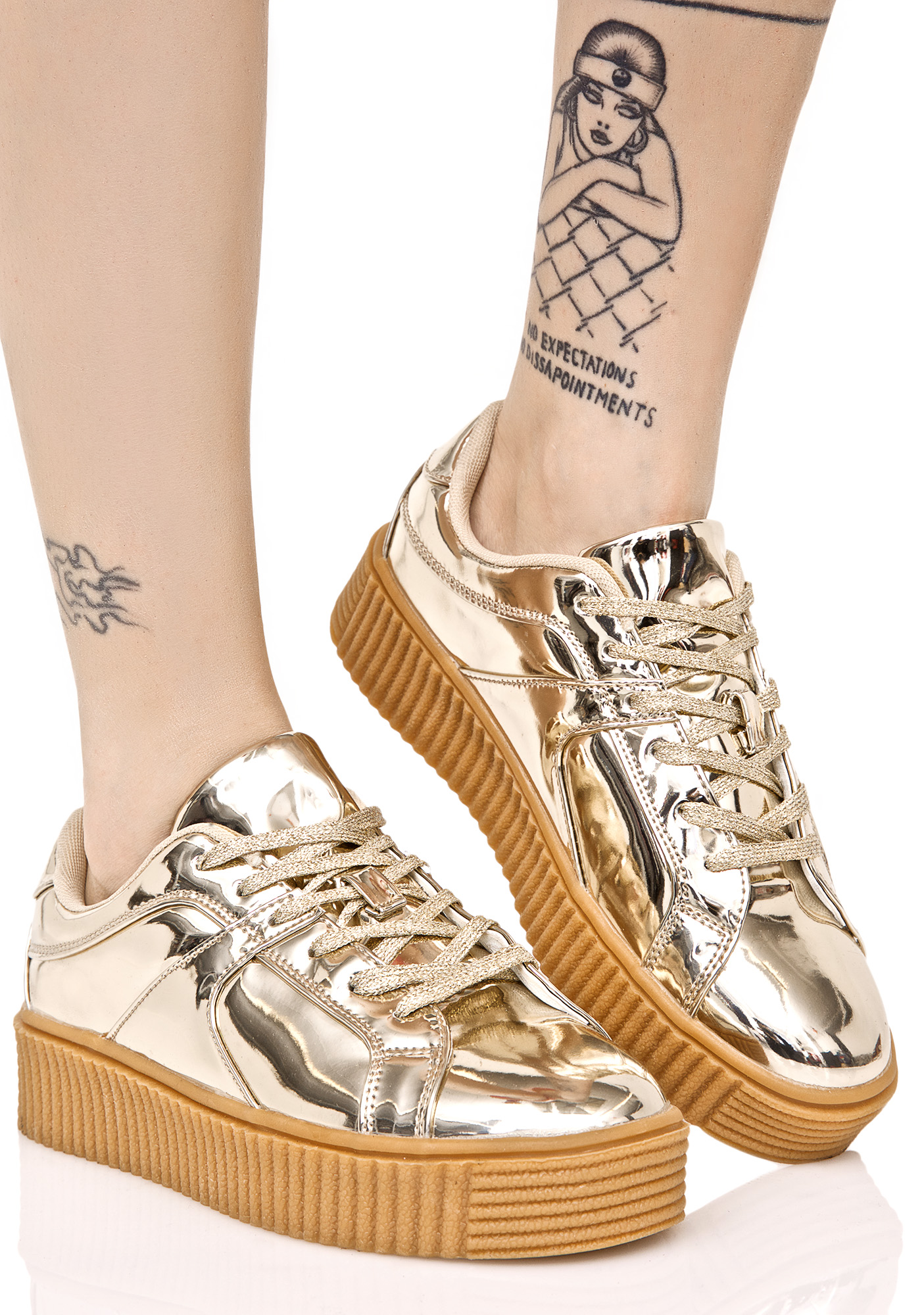 Gold Low Top Creeper Sneakers