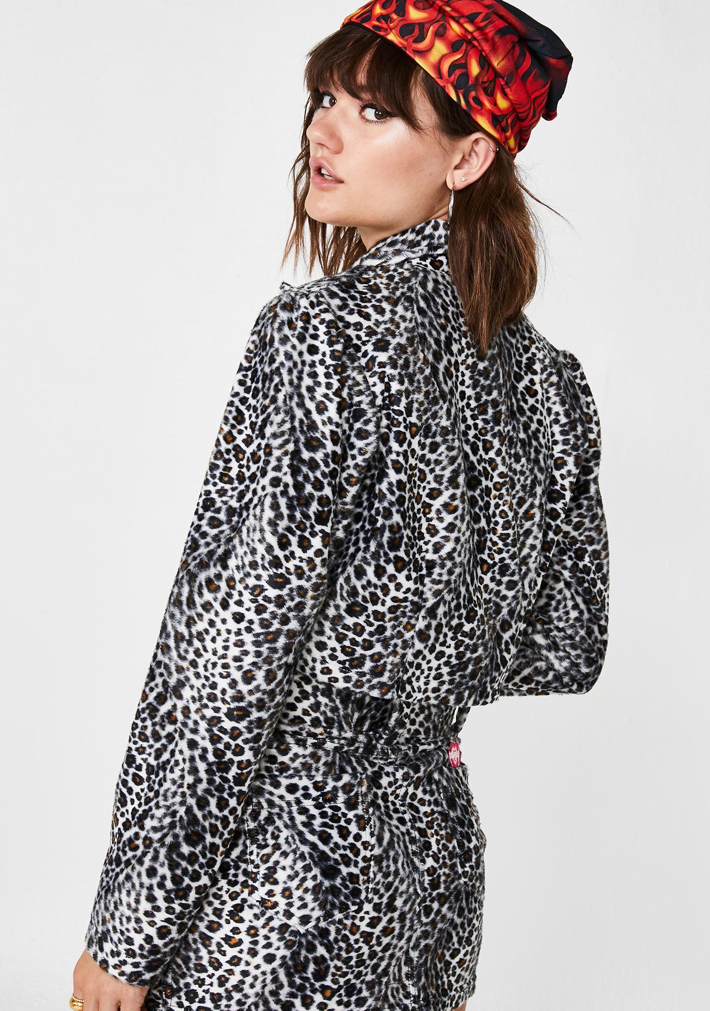 O Mighty Snow Leopard Cropped Blazer