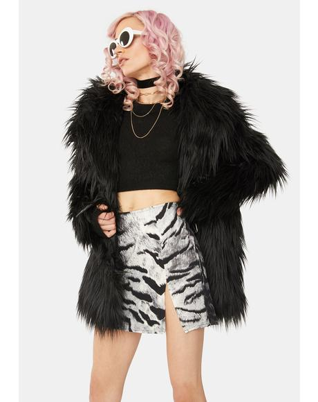Silver Tiger Pelmet Mini Skirt