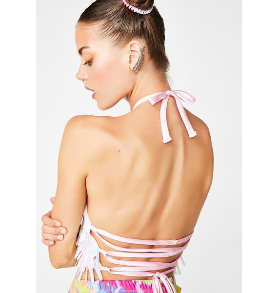 Sparkl Fairy Couture Iridescent Feather Halter Top