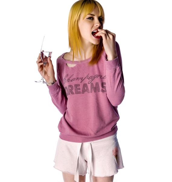 Chaser Champagne Dreams Cutout Fleece Raglan