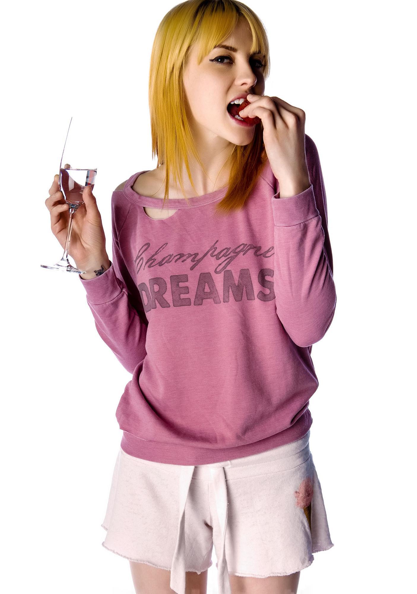 Chaser Champagne Dreams Cutout Fleece Raglan