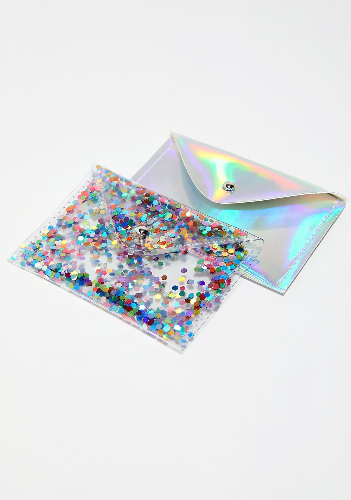 Poco Inu Rainbow Glitter Card Holder