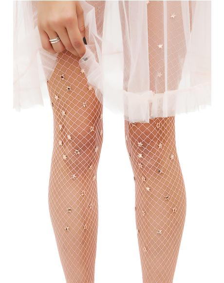 Star Sign Handmade Fishnet Stockings