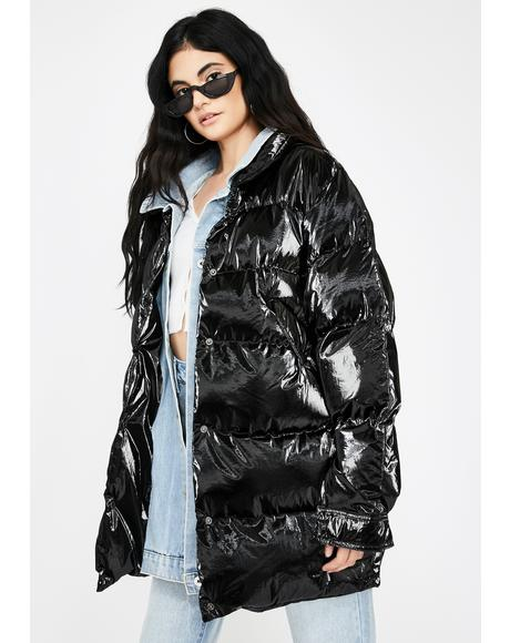 Black Denim Layer Long Puffer Jacket