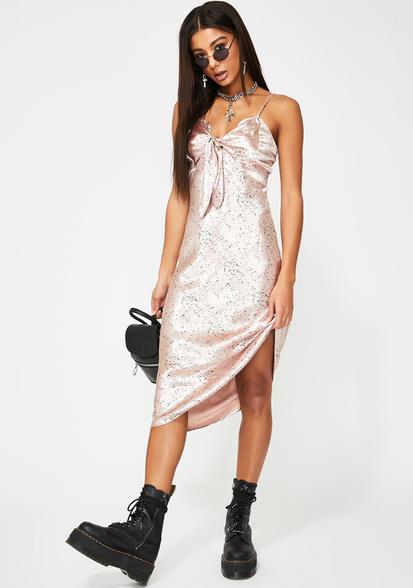 Glamorous Pink Splatter Satin Midi Dress
