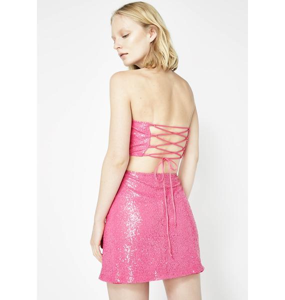 Motel Paris Pink Sequin Weaver Skirt