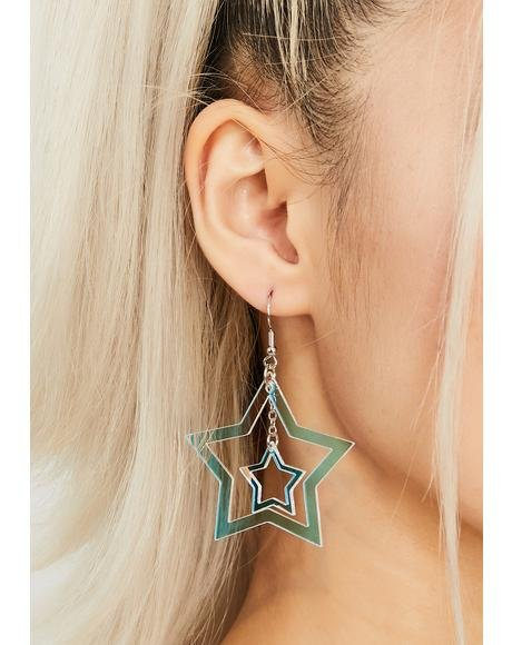 Holographic Only Star Drop Earrings