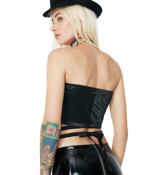 American Deadstock Black Satin Bandage Tube Top