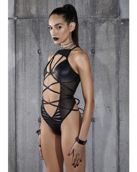 Snare Strappy Mesh Wrap Tie Bodysuit