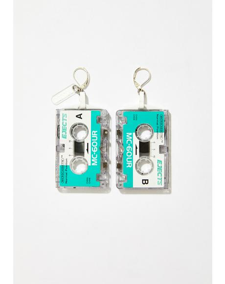 Teal Talk Tape Earrings