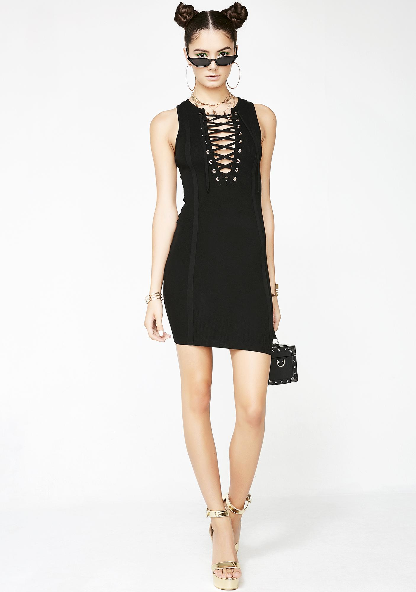 Sorry About It Lace-Up Dress