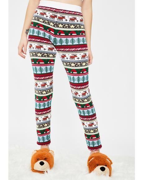 Santa Hat Knit Leggings