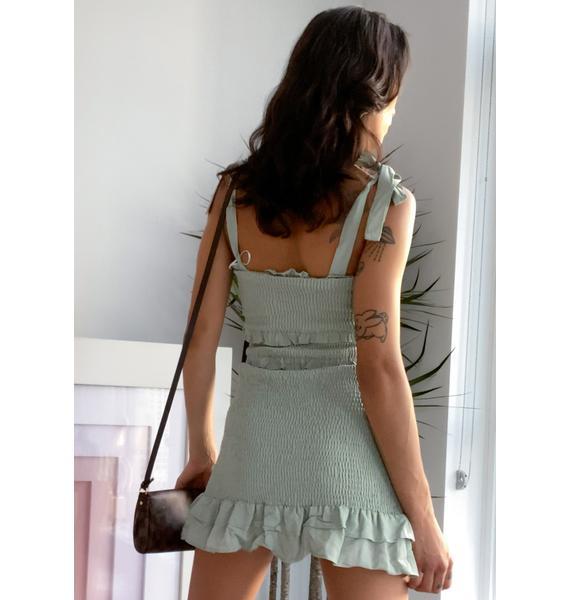 Sage Let's Picnic Mini Dress